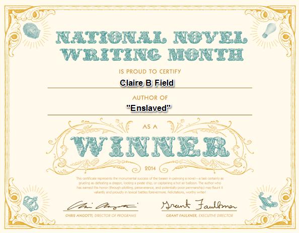 NaNoWriMo Winners Certificate