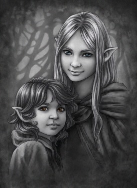 Náriel and Sae'on. Art by Adele Lorienne: http://www.meadowhaven.net/miscellaneous/commissions/girlboyportrait-s-2/